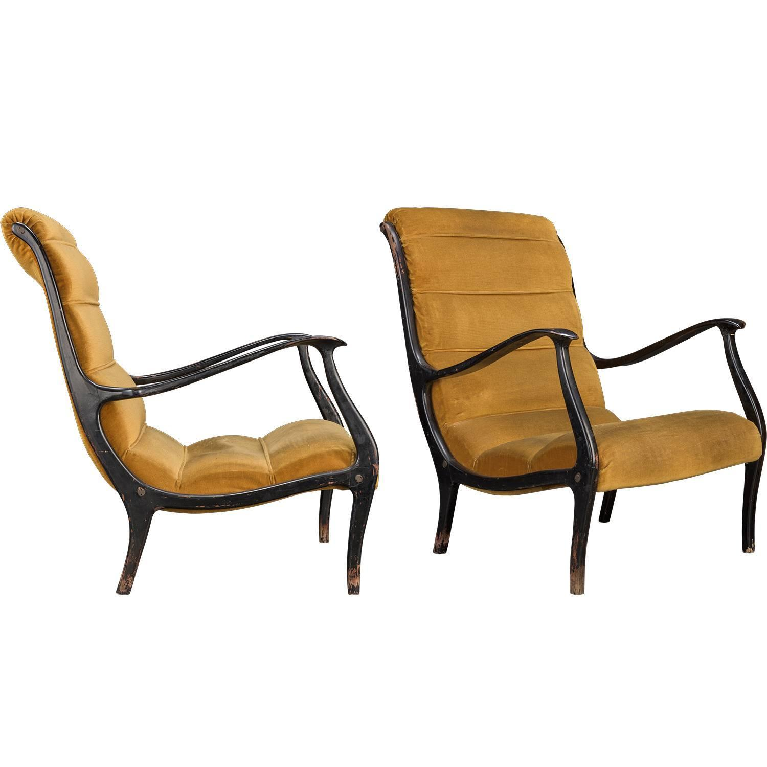 Ezio Longhi Armchairs At 1stdibs