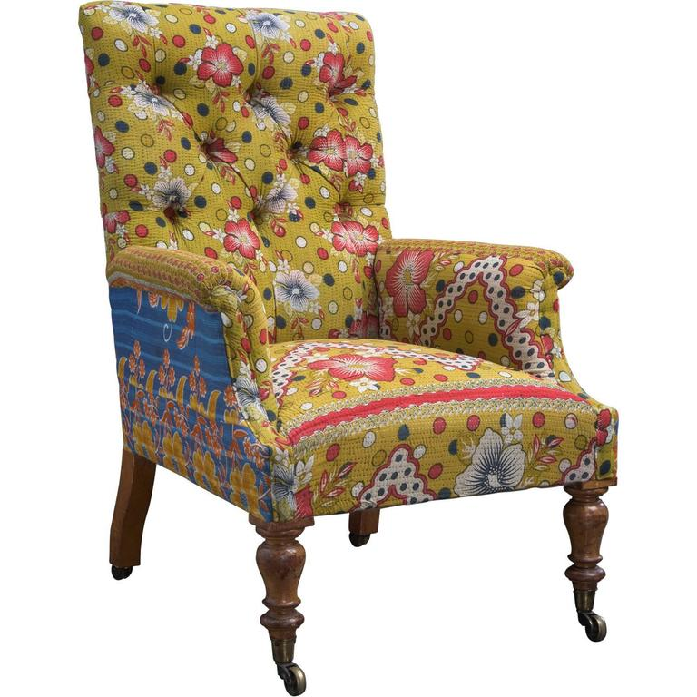 Country House Armchair in Indian Fabric at 1stdibs