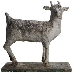 Concrete Folk Art Goat Garden Sculpture