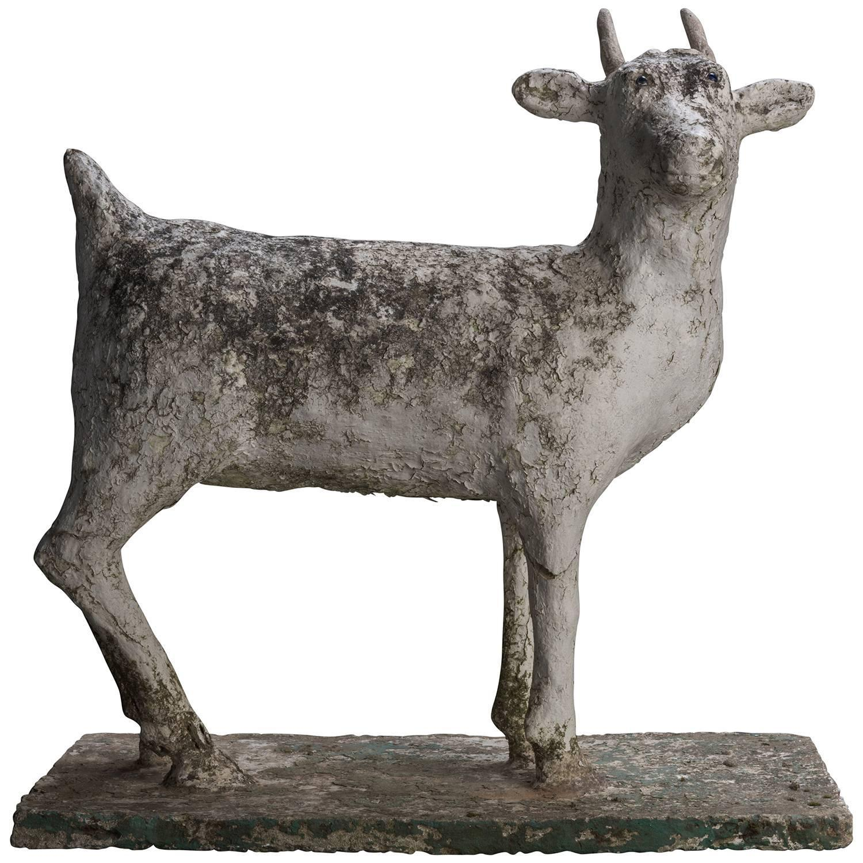 Concrete Folk Art Goat Garden Sculpture For Sale At 1stdibs