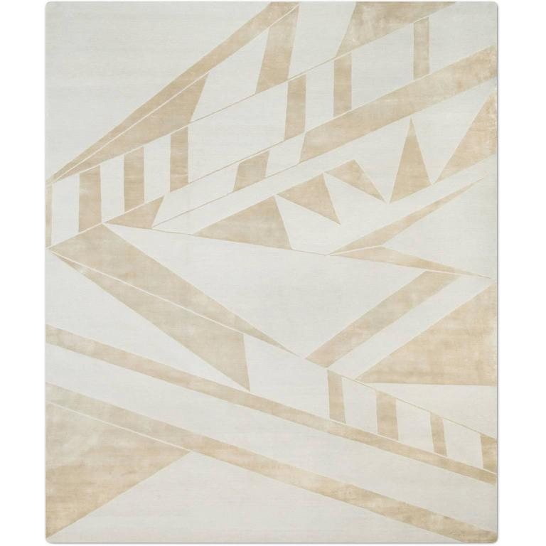 'Deco_Silver Blue' Hand-Knotted Tibetan Contemporary Geometric Rug Wool & Silk