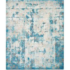 'Cover_Cobalt' Hand-Knotted Tibetan Contemporary Abstract Rug Wool & Silk