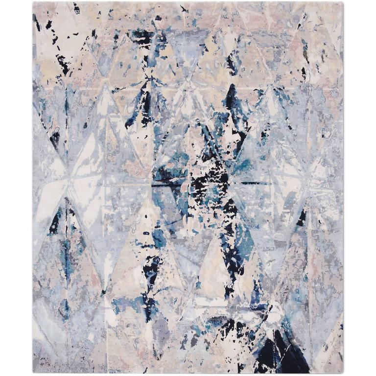 'Mirror_Original' Hand-Knotted Tibetan Contemporary Abstract Rug Wool & Silk