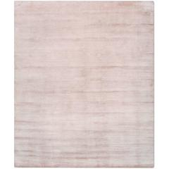 'Silk Lines_Blush' Hand-Knotted Tibetan Neutral Plain Rug Wool & Silk