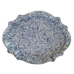 19th Century French Blue Marbelized Platter from Apt