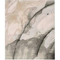 'Minerals_Grey Blush' Hand-Knotted Tibetan Contemporary Abstract Rug Wool & Silk