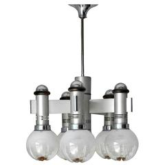 Five Globes and Chrome Chandelier by Sciolari