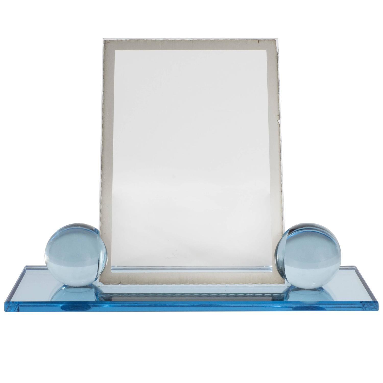 deco machine age pale blue glass and mirror
