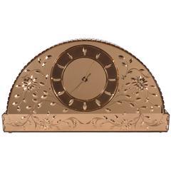 Exquisite Art Deco Illuminating Venetian Etched and Beveled Mirrored Clock