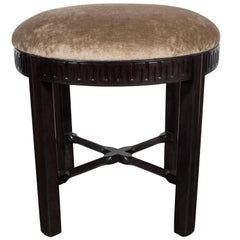 Art Deco Stool in Hand-Rubbed Walnut and Smoked Topaz Velvet