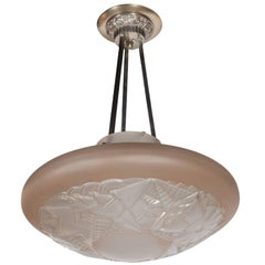 French Art Deco Dome Chandelier in Frosted Rose Glass with Geometric Stylings