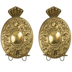 Pair of Dutch Baroque Style Brass Sconces