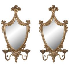 Pair of Adams Style Carved Giltwood Mirrored Sconces