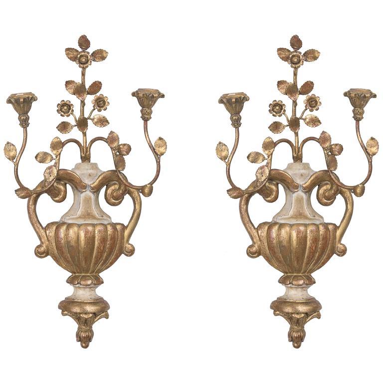 Pair of Palladio Style Cream and Gilt Sconces