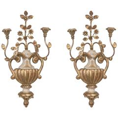 Pair of Palladio Style Cream and Gilt Sconces