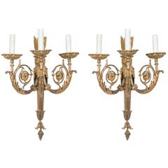 Pair of 19th Century Gilt Bronze Sconces