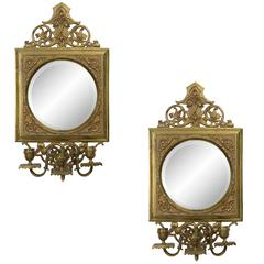 Pair of 19th Century Brass and Mirror Sconces