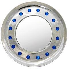 Italian Pair of Modern Nickel Round Mirrors with Jewel Like Blue Murano Glass