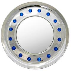 Italian Pair of Modern Chromed Round Mirrors with Jewel like Blue Murano Glass