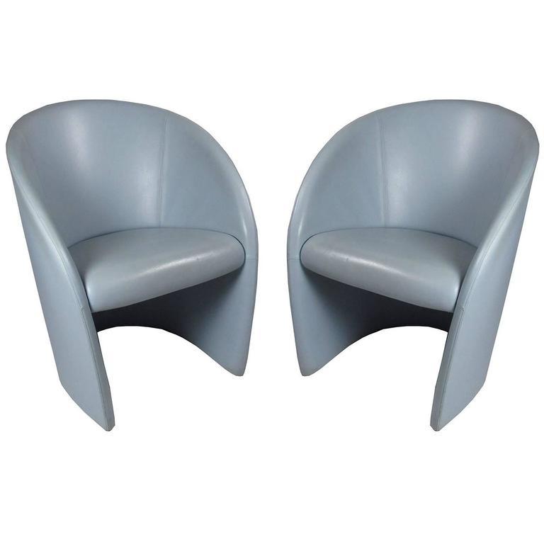 Pair of Italian Poltrona Frau Intervista Blue Leather Chairs