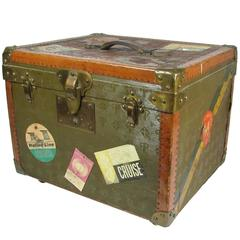 Rare Small Au Touriste Leather and Canvas Hatbox Trunk