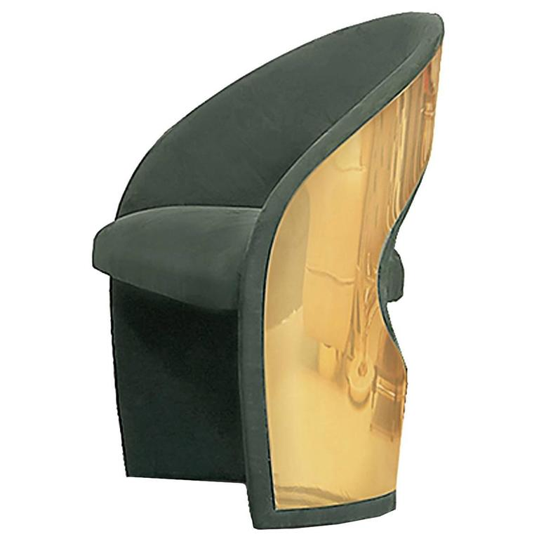 Brad Chair Polished Brass Back and Velvet Upholstery Fabric