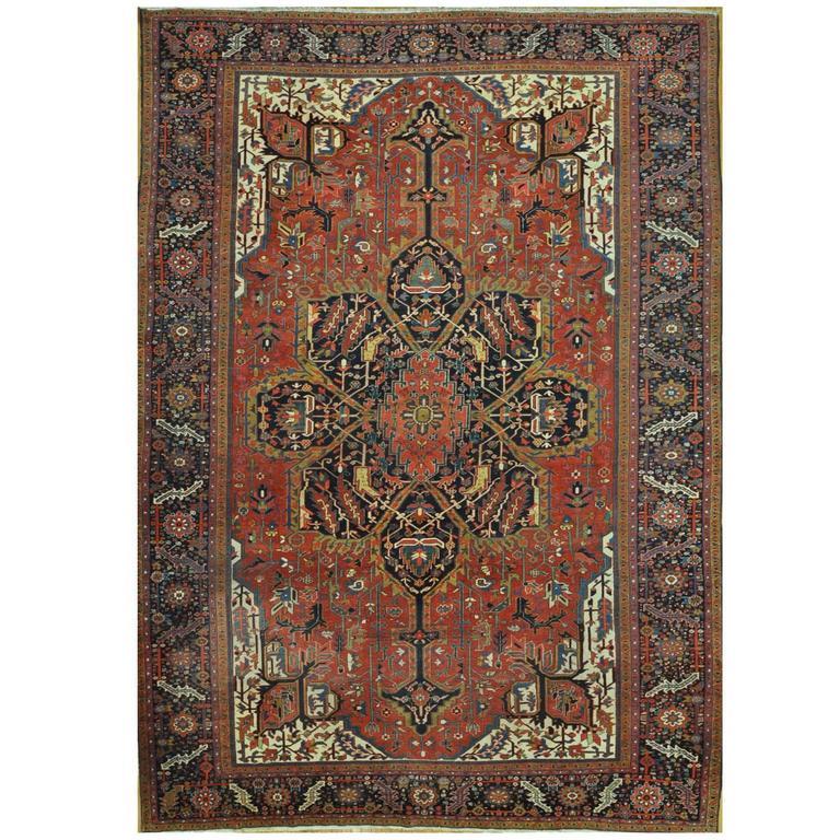 Large Antique Persian Heriz Rug For Sale At 1stdibs