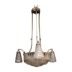 French Art Deco Frosted Chandelier