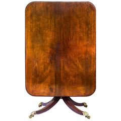 Superb English George III Regency Figured Mahogany Centre Table