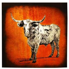 Rare Longhorn Texas Bull Painting by Jack White, circa 1975