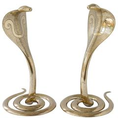 Pair of Solid Brass Cobra Sculptures or Andirons
