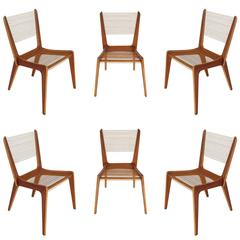 Set of Six Jacques Guillon Mid-Century Modern String Dining Chairs