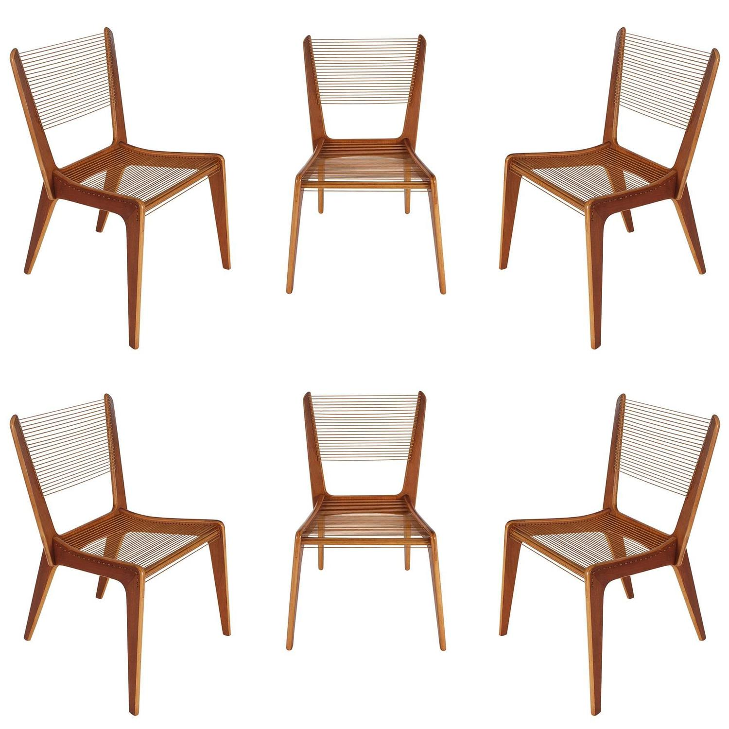 Set of Six Jacques Guillon Mid Century Modern String Dining Chairs