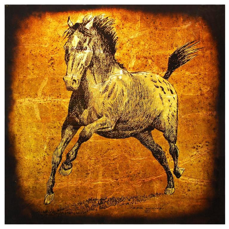Large Vintage Horse Painting Gl Gold Silver Leaf Jack White Circa 1970 For