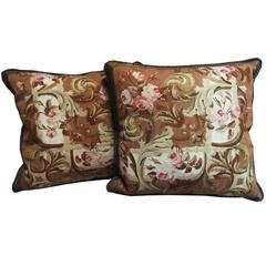 Pair of Antique French Aubusson Tapestry Pillows, circa 1860