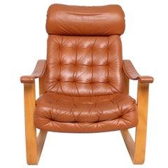 Finland Leather Armchair, Mid-Century Modern OY BJ. Dahlqvist AB, High Back