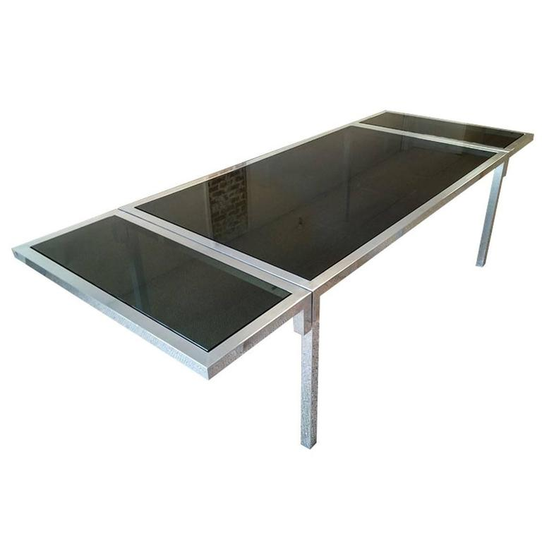 Mid Century Modern Aluminium And Smoked Glass Dining Table, Circa 1970s For  Sale