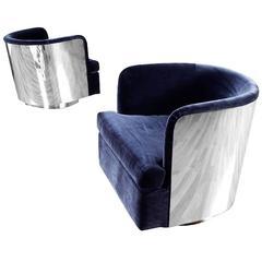 Restored Pair of Milo Baughman Blue Barrel Chairs