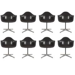 Jet Black Mid-Century Eames for Herman Miller Fiberglass Dining Chairs