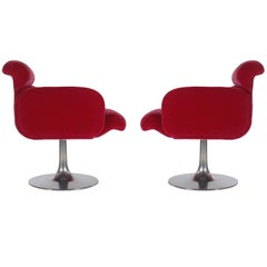Mid-Century Modern Red Swivel Lounge Chairs with Tulip Bases by Stendig