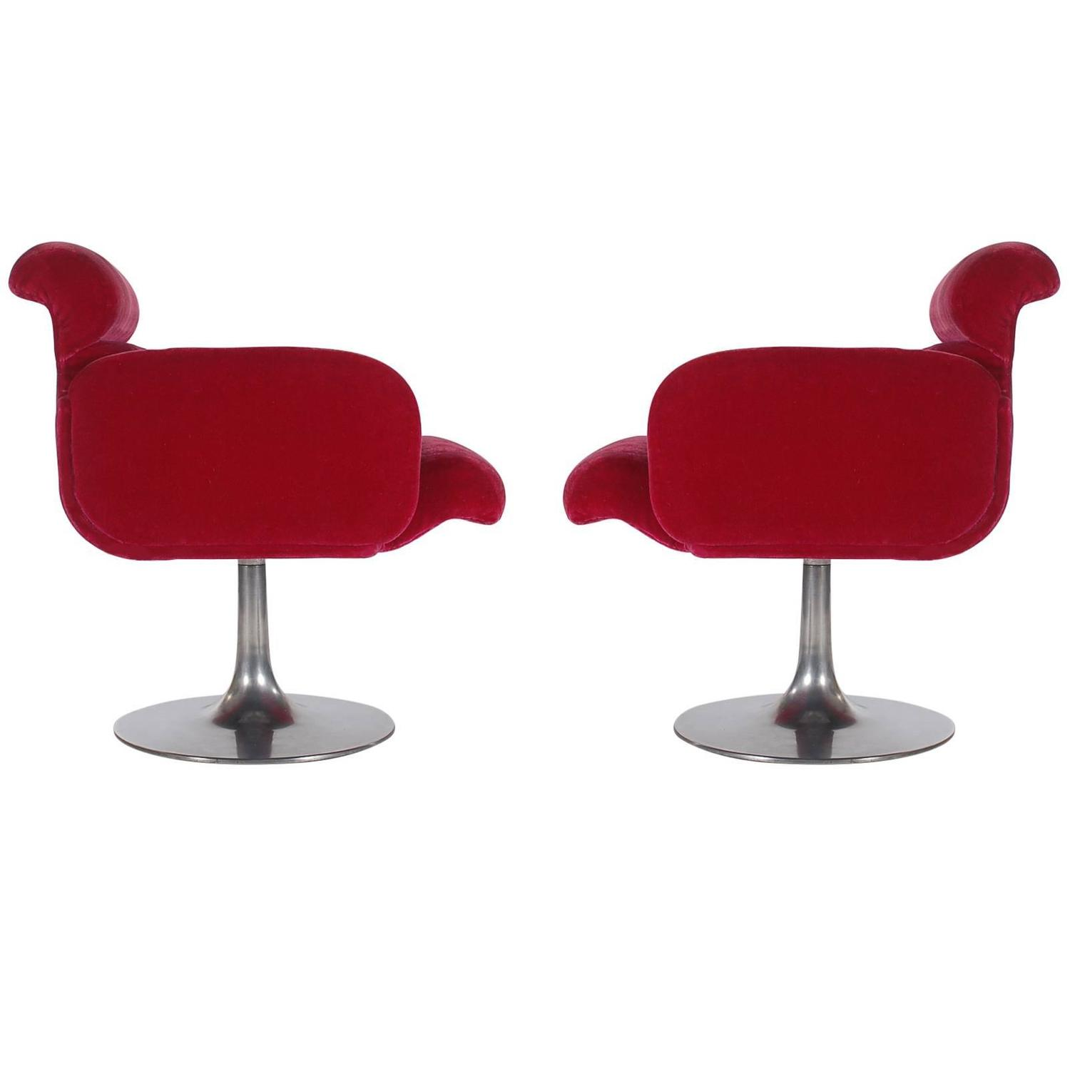 Mid Century Modern Red Swivel Lounge Chairs with Tulip Bases by