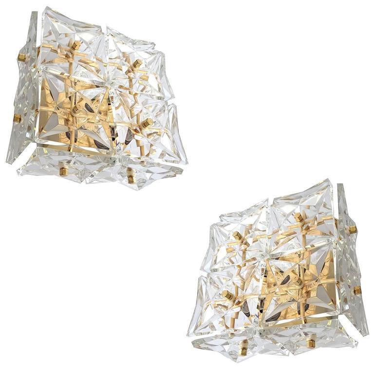 Pair Mid Century Modern Kinkeldey Crystal Brass  Mirror Vanity Sconces, 1960s
