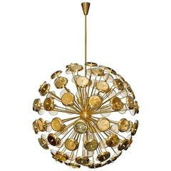 Important Chandelier Petals of Stilux, Gold Brass, circa 2000, Italy