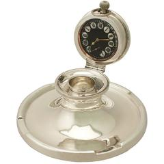 Sterling Silver Capstan Watch Inkwell, Antique George V
