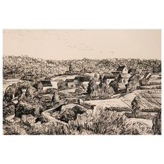 Pen and Ink Drawing, French Village