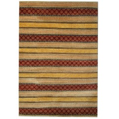 Modern Striped Contemporary Rugs, Persian Style Rugs, Gold Modern Carpet