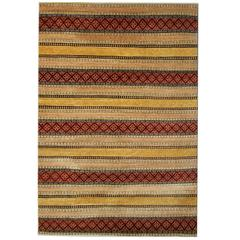 Fine Contemporary Modern Rugs, Striped Rugs, Yellow Rug