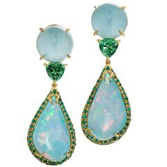 """Fiery Mexican Blue Opal """"Goddess"""" Earrings by Daria de Koning, One of a Kind"""