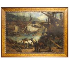 'The Harbor' Original Oil by Johannes Jurres