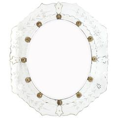 Antique Venetian Etched Mirror